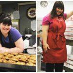 Chica con Síndrome de Down discapacidad discapacitada empleo trabajo pastelería