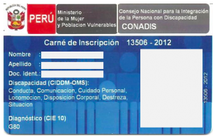 Carnet Discapacidad Perú Azul