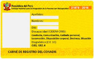 Carnet Discapacidad Perú Amarillo